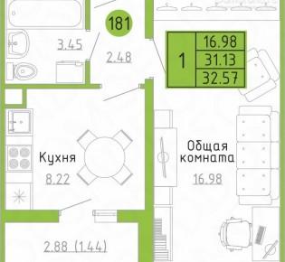 1-комн. квартира, 32.6 м², 1/9 эт.