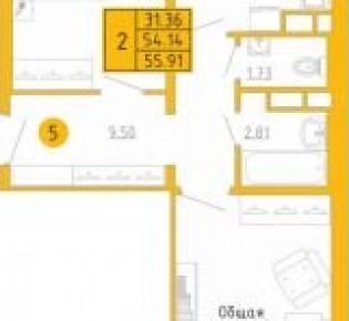 2-комн. квартира, 55.9 м², 2/9 эт.