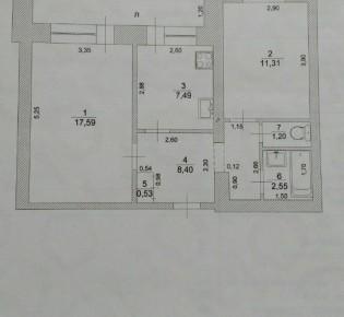 2-комн. квартира, 53 м², 5/9 эт.
