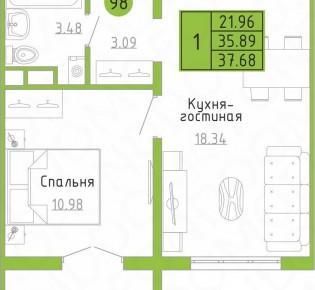 1-комн. квартира, 37.7 м², 7/9 эт.